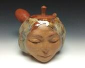Teapot Bliss Face Sculpture Smiling Serving Side Handle Kyusu Kitchen Art Vessel