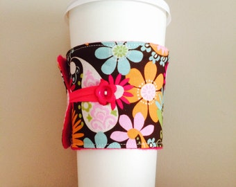 Coffee Cup Cozy, Coffee Cup Sleeve, Cup Cozy, Cup Sleeve, Reusable Coffee Sleeve - Autumn Paisley Floral [01]
