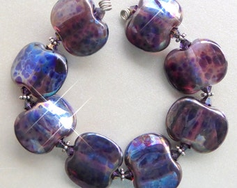 Destash  glass bead set by Judith Billig in Navy metallic x 8