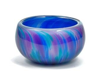 Aqua and Twilight Blues Glass Salt Bowl