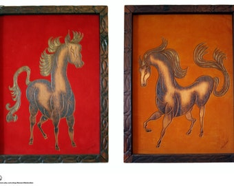 Pair of Velvet and Wood Mid-Century Vintage Horse Wall Art - FREE SHIPPING - Payment Plan Available!