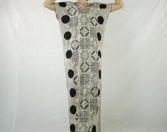 V Neck Short Sleeve Rectangular Poncho Maxi  Hilltribe Fabric Pattern Print &  Black Dot Print Poncho Dress Maxi Dress Women Sun Dress