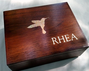 Jewelry Box Keepsake Box Walnut Hummingbird Abelone Shell Inlay, Custom Item