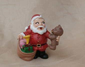 Vintage Wallace Berrie 1981 PVC Toy Santa Claus Figure With Teddy Bear Christmas