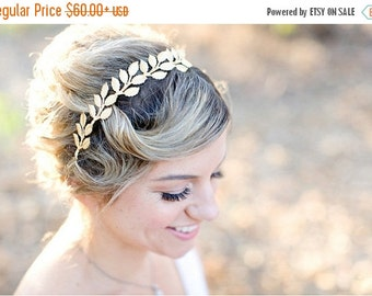 Valentines Day Sale Large Leaves, Brass Gold Leaf Crown -  Bridal or Special Occasion Headband, Golden Leaf Headband, halo, crown, Boho hair