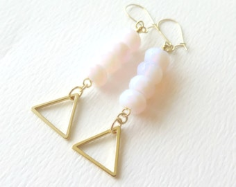 Pink Opal Earrings / October Birthstone Jewelry / Boho Dangle Earrings/ Wedding Jewelry / Bridesmaid Gift/Gifts for Her pink gold geometric