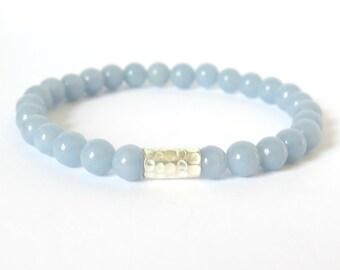 Angelite Beaded Bracelet with Hill Tribe Silver / Minimalist Gemstone Bracelet / Stacking Bracelet / Baby Blue Urban Fashion Boho sky blue