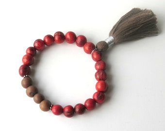 Cranberry Brown Acai Bead Bracelet with Tassel / Natural Seed Bracelet / Organic Boho Bracelet / Ethnic Tribal Natural Seed /Unisex Bracelet