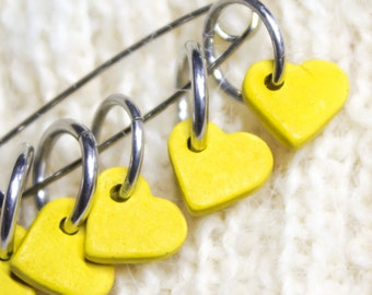Happy Stitch Markers, Knitting Stitch marker, Crochet Snag free buttercup Yellow Heart, Yarn Stitchmarker, Hearts Charms Spring Knitter Gift