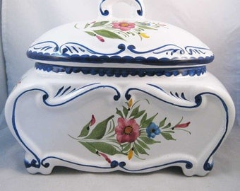 Hand Painted Footed Portugal Portiguese Covered Dish Cobalt Blue Signed!
