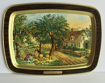 Vintage Tray with Fall Currier & Ives Scene -American Homestead Autumn