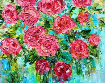Original oil painting Roses Ruby red abstract palette knife modern texture fine art impressionism by Karen Tarlton