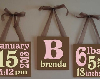 Baby Birth Announcement Canvas Blocks, Hand Painted Nursery Canvas, Custom Wall Art, Painted Canvas Quote, Nursery Decor, Baby Shower Gift