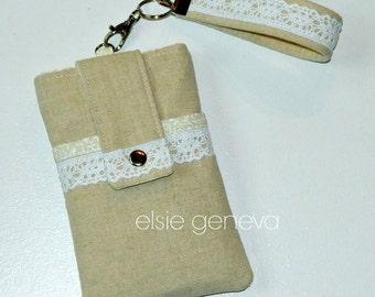 Linen & Lace Phone Case with Wristlet - Optional Shoulder Strap -  Vintage Natural Burlap - Bodacious Wine Option