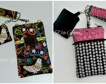 Choose Any Fabric in My Shop Phone Case w/ Wristlet Optional Shoudler Strap Bluetooth Coin Pouch Pink Black and Taupe iPhone 4 5 6 Plus Note