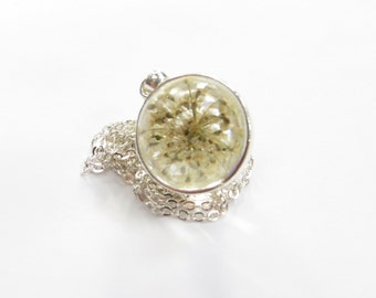 Real Flower Necklace - Queen Anne's Lace White Flower Petal Dome Necklace In Silver, On Sale, Jewelry Inspired By Nature