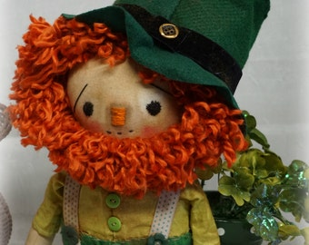 Folk Art Primitive ST Paddy's Mr Leprechaun DoLL  vintage button MADE to ORDER