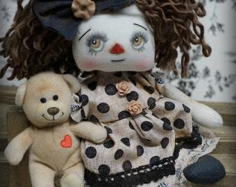 Little Coco Annie  and bear Primitive folk art doll cute Fantasy button eye Valentines Gift Handmade