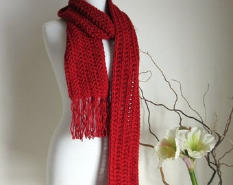 ON SALE Red Knit Scarf - Fringed Scarves - Chunky Long Winter Scarves - Made to Order