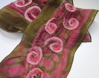 Felted Scarf - Pink Silk Scarf - Hand Painted - Chocolate and Raspberry