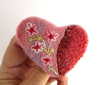 Heart Pin - Pink Beaded Shawl Pin - Embroidered Sweater Pin - Hearts and Flowers