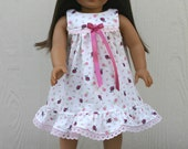 18-Inch  Doll Nightgown/Dress--Pink Lady Bugs // Handmade // Dolly and Me // Ready to Ship