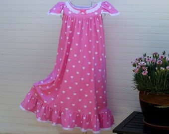 LAST ONE--Size 6 //Girls Nightgown, 100% Cotton-Knit //Long-Full Length, Pink Hearts, Eyelet Trim//Ready to Ship---All other sizes--sold out