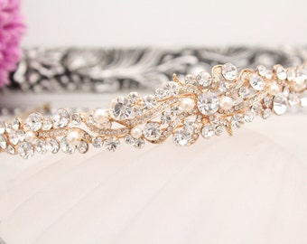 Rose gold bridal headband,Crystal and pearl Wedding headband Rose gold tone,Pearl headband tiara,Wedding hair accessories,Bridal headpiece