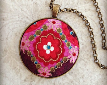 Boho Floral Necklace  Antique Bronze  Bohemian Red Gold Purple Batik  Wedding Gift  Bridesmaid Gift Fabric Jewelry Textile Art