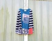 upcyled funky denim jean black blue tunic ladies women upcycled clothing Patchwork Dress Eco Dress / Artsy Dress by CreoleSha