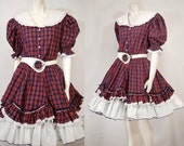 Vtg Square Dancing Two Piece Outfit by Fancy Fashions Wills Pt Texas S/M Red White Blue and Green Plaid Eyelet Lace Rick Rack Trim