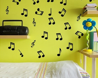 24 Music Notes Wall Decals Removable Wall Musical Stickers