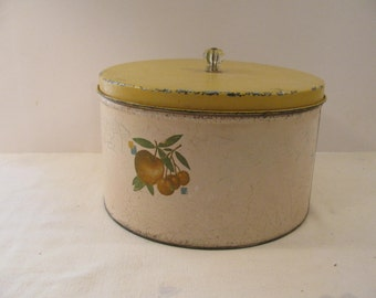 Large Very Vintage Canister - Storage Tin - Glass Knob - Apple Decal - Great Age Patina