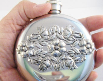 Vintage Floral Flask,Flower Accessories,Floral,Flower,Round Flask,Hip Flask,Liquor Flask,STainless STeel,5 oz,Vintage Flask,Victorian Flask,