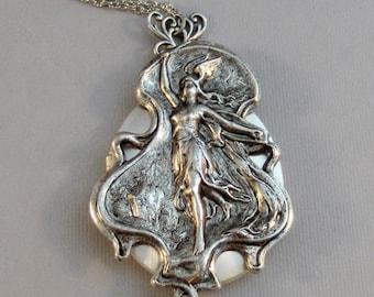 Hestia,Locket,Silver Locket,Goddess Locket,Goddess Necklace,NecklaceGirl,Goddess,Antique Locket,Night,Woodland,Jewelry.valleygirldesigns.