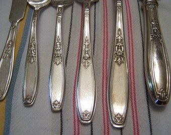 Reserved for Kate...SALE, Vintage Flatware Set, 1847 Rogers/International,  Service for 12, 74 PCS, Ambassador, Art Deco, 1919,