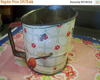 Valentines SALE Large Older Flour Sifter, Red, Green Ivory, Rustic, Farmhouse Kitchen, 20s 30s