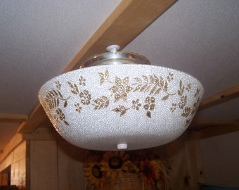 Mid Century Ceiling Light Fixture, Gold & White Textured MCM,Glass Shade, Spaghetti, Round Ceiling, Bowl Shade Fixture, Hollywood Regency