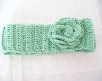 Handmade Crocheted Green Headband Ear Warmer with Flower
