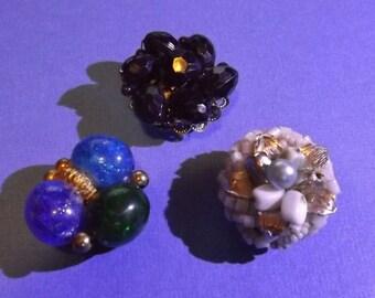 3 Vintage Jewelry Magnets Beaded Earrings