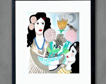 Sisters- Fine Art Print. Frida Kahlo. Mexico,art painting flowers, bohemian, folk, funky, naive, primitive.