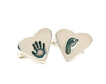 Footprint Jewelry, Handprint Cufflinks, Fathers Day Gifts, Handprint Jewelry, Keepsake, Footprint Cufflinks, Personalized Baby Jewelry