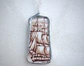 Vintage Ceramic Sailing Ship Necklace