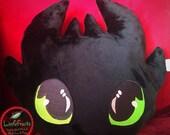 Dragon Head Plush Pillow - Plushy Minky Throw Pillow - Green Dragon Eyed Pillow