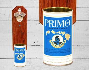 Primo Hawaiian Wall Mounted Bottle Opener with Vintage Beer Can Cap Catcher - Great Gifts for Groomsmen