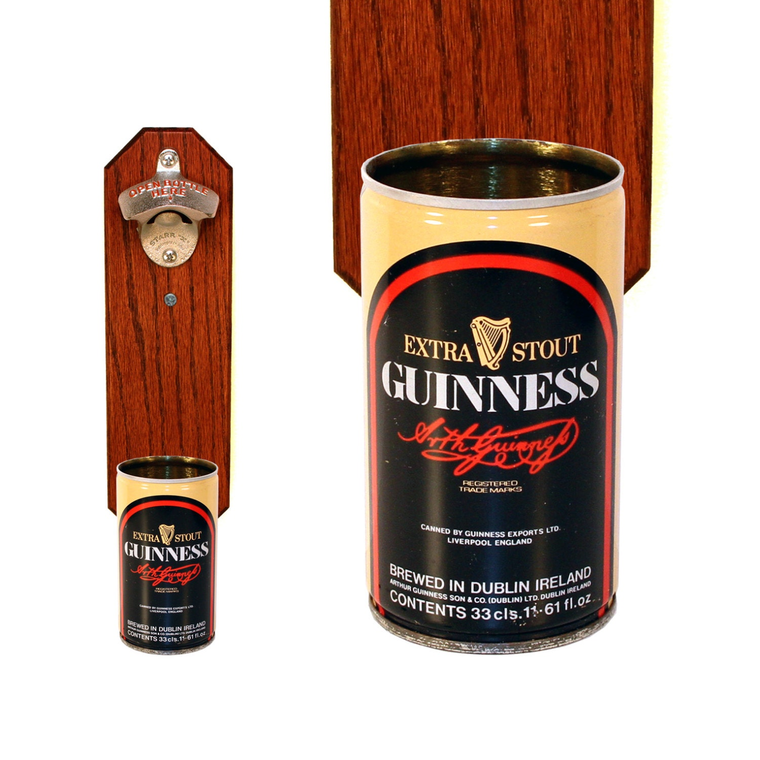 Guinness Wall Mounted Bottle Opener With Vintage 8oz By