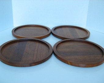 Danish Mid Century Modern Teak Serving Plates Trays Combiwood Lundtofte Denmark FREE SHIPPING