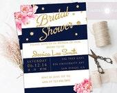 Bridal Shower Invitation, Printable Bridal Shower Invite, Peony Invitation, Shower, DIY, Navy Stripes, Glitter, Birthday,  jadorepaperie