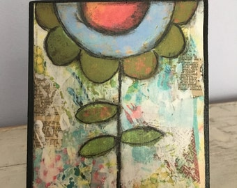 Collage art, mixed media print mounted on wood, Dream,inspirational, green and blue flower