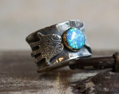CUSTOM ORDER for Monica - statement ring, boho ring, tribal silver gold ring, hand of fatima ring, opal ring - Feel the magic R2269